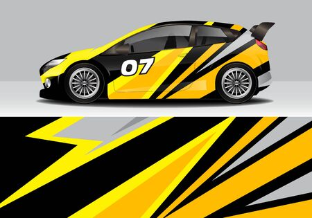car wrap with modern abstract background vector design for racing, livery, drift, sports 스톡 콘텐츠 - 134000586