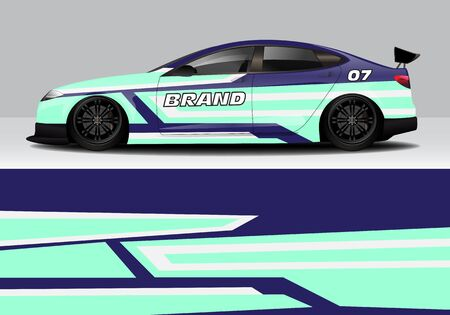 car wrap with modern abstract background vector design for racing, livery, drift, sports 스톡 콘텐츠 - 134000452