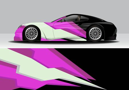 car wrap with modern abstract background vector design for racing, livery, drift, sports 스톡 콘텐츠 - 134000457