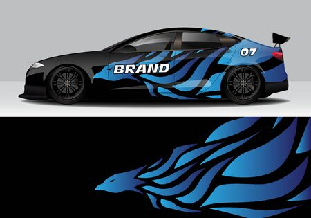car wrap with modern abstract background vector design for racing, livery, drift, sports 스톡 콘텐츠 - 134000455