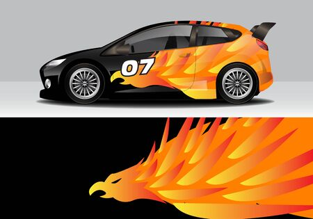 car wrap with modern abstract background vector design for racing, livery, drift, sports 스톡 콘텐츠 - 134000456