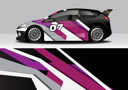 car wrap with modern abstract background vector design for racing, livery, drift, sports 스톡 콘텐츠 - 134000459
