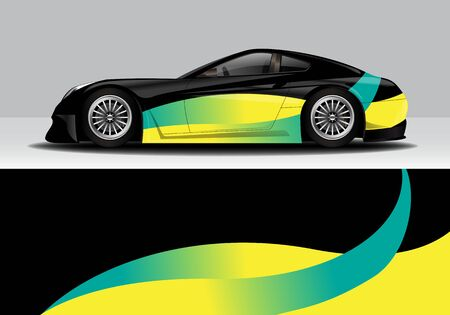 car wrap with modern abstract background vector design for racing, livery, drift, sports 스톡 콘텐츠 - 134000468