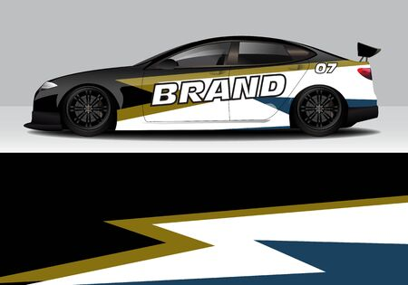 car wrap with modern abstract background vector design for racing, livery, drift, sports 스톡 콘텐츠 - 134000301