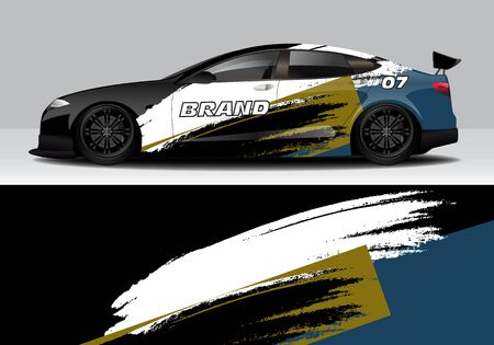 car wrap with modern abstract background vector design for racing, livery, drift, sports 스톡 콘텐츠 - 134000305
