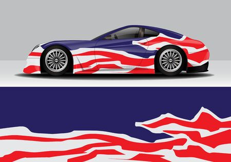 car wrap with modern abstract background vector design 스톡 콘텐츠 - 134000315