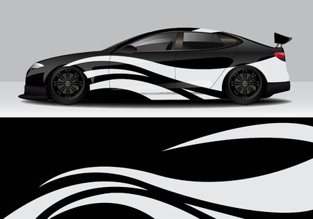car wrap with modern abstract background vector design 스톡 콘텐츠 - 134000316