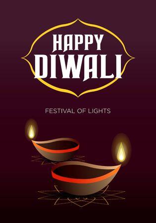 diwali festival of lights greeting card or banner vector design. eps10