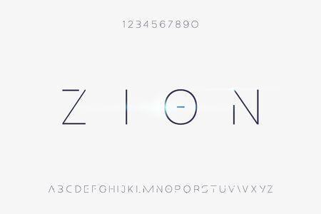 Zion. Abstract technology futuristic alphabet font. digital space typography vector illustration design Illustration