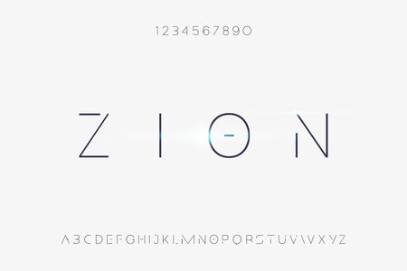Zion. Abstract technology futuristic alphabet font. digital space typography vector illustration design 일러스트