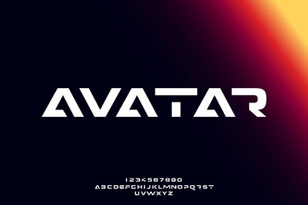 Avatar, an abstract technology science alphabet font. digital space typography vector illustration design 일러스트
