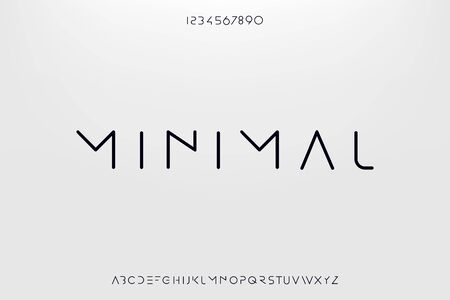 Minimal, an Abstract technology science alphabet font. digital space typography vector illustration design
