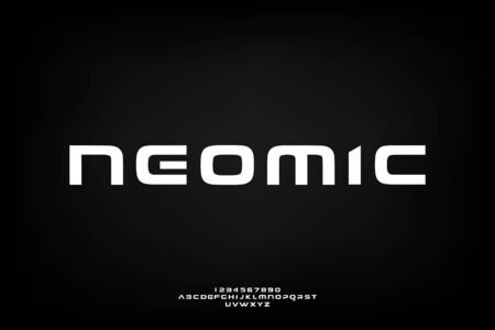neomic. Abstract technology science alphabet font. digital space typography vector illustration design
