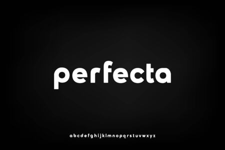 perfecta, a modern sans serif alphabet display font. lowercase minimalist typography design