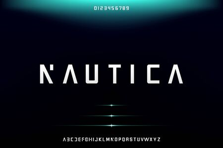 Nautica, Abstract technology science alphabet font. digital space typography vector illustration design
