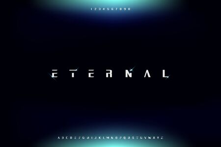 Eternal, modern futuristic sans serif font vector design for technology theme