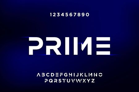 Prime Bold modern futuristic sans serif font vector design. 일러스트