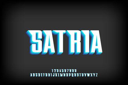 bold satria 3d effect alphabet sans serif font vector design.
