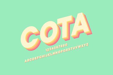 sheared cota bold 3d alphabet effect sans serif font vector design.