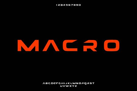 Macro, an abstract technology bold alphabet font. digital space typography vector illustration design