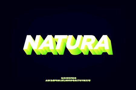 natura, sans serif alphabet font design. modern bold 3d effect typography style