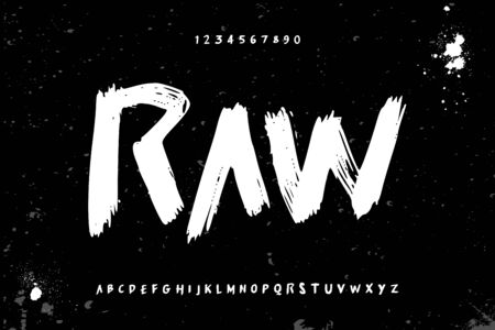 raw brush stroke handwritten alphabet vector sans serif font design 일러스트