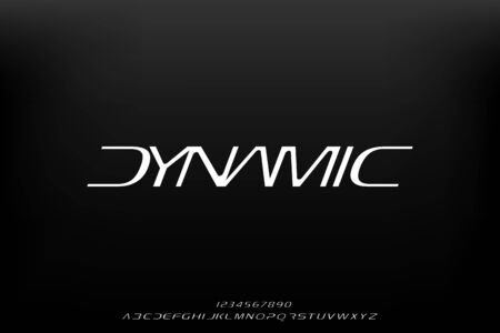 Dynamic, an abstract technology science alphabet font. digital space typography vector illustration design
