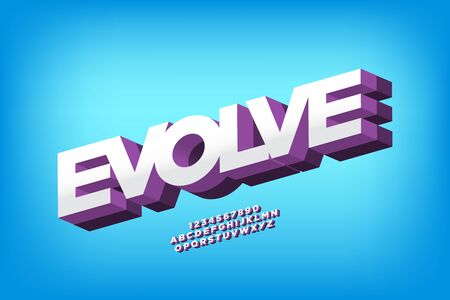 evolve 3d display font vector design, alphabet, letters and numbers. 일러스트