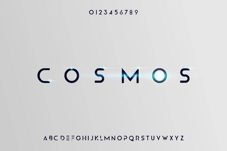Cosmos, Abstract technology science alphabet font. digital space typography vector illustration design