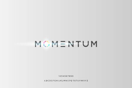 momentum. minimalist modern alphabet fonts. Typography creative vector illustration