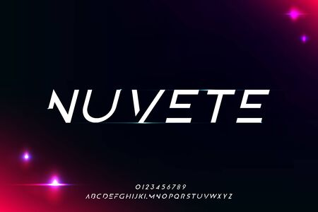 Nuvete, an Abstract technology futuristic alphabet font. digital space typography vector illustration design Illustration
