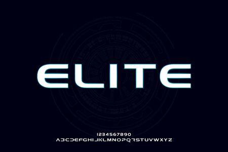 Elite, an abstract technology futuristic sporty alphabet font. digital space typography vector illustration design 일러스트