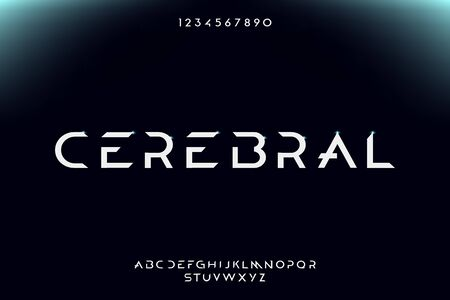 Cerebral, an Abstract technology theme typography alphabet font, inspired by digital artificial intelligence. vector illustration design Illustration
