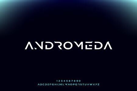 Andromeda, a futuristic minimalist alphabet font. digital space typography vector illustration design 일러스트