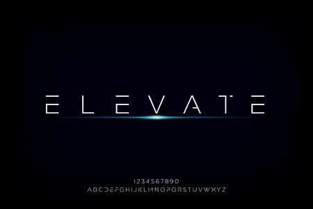 elevate. Abstract technology futuristic alphabet font. digital space typography vector illustration design 일러스트