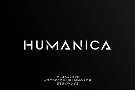 Humanica, an Abstract technology futuristic alphabet font. digital space typography vector illustration design 일러스트