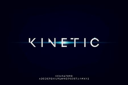 kinetic, an Abstract technology futuristic alphabet font. digital space typography vector illustration design 일러스트