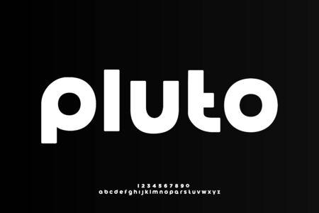 Pluto a modern minimalist alphabet font, lowercase bold typography style 일러스트