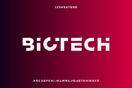 Biotech, Abstract technology science alphabet font. digital space typography vector illustration design 일러스트