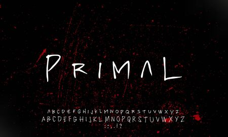 primal brush font alphabet handwritten vector design illustration
