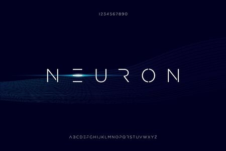neuron, thin minimalist modern futuristic sans serif font vector design.