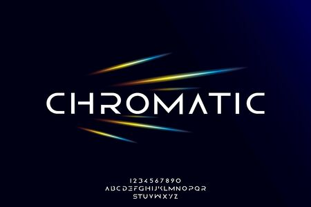 Chromatic, an abstract technology science alphabet font. digital space typography vector illustration design