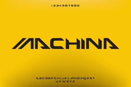Machina, an Abstract modern minimalist alphabet fonts. technology futuristic industrial creative Typography. vector illustration 일러스트