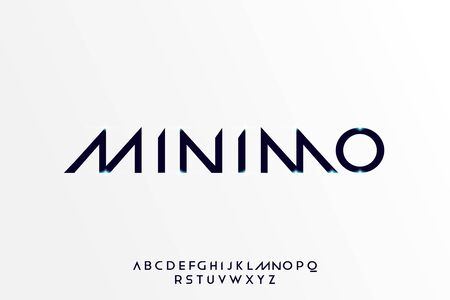 Minimo. Abstract technology futuristic alphabet font. digital space typography vector illustration design