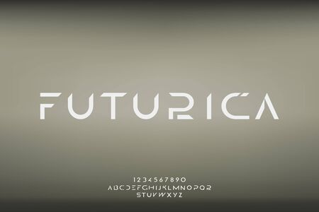 Futurica, an abstract technology futuristic alphabet font. digital space typography vector illustration design