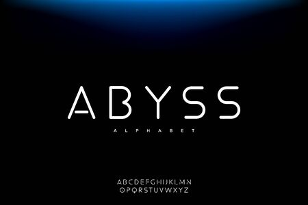 Abyss, Abstract technology science alphabet font. digital space typography vector illustration design