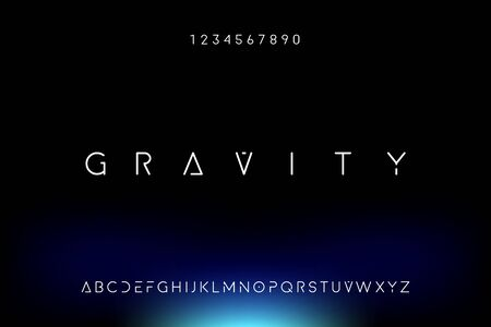 Gravity. Abstract technology science alphabet font. digital space typography vector illustration design