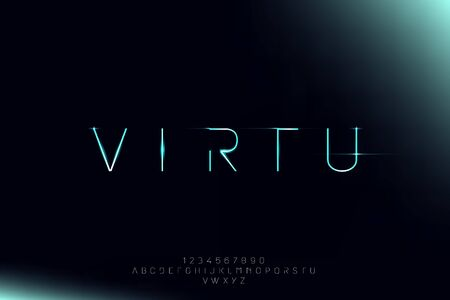 Virtu, a futuristic minimalist alphabet font. digital space typography vector illustration design 일러스트