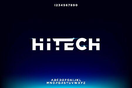 hitech, technology theme Bold modern. futuristic sans serif font. typography vector design