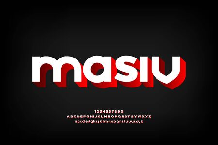 masiv 3d display font vector design, alphabet, letters and numbers.